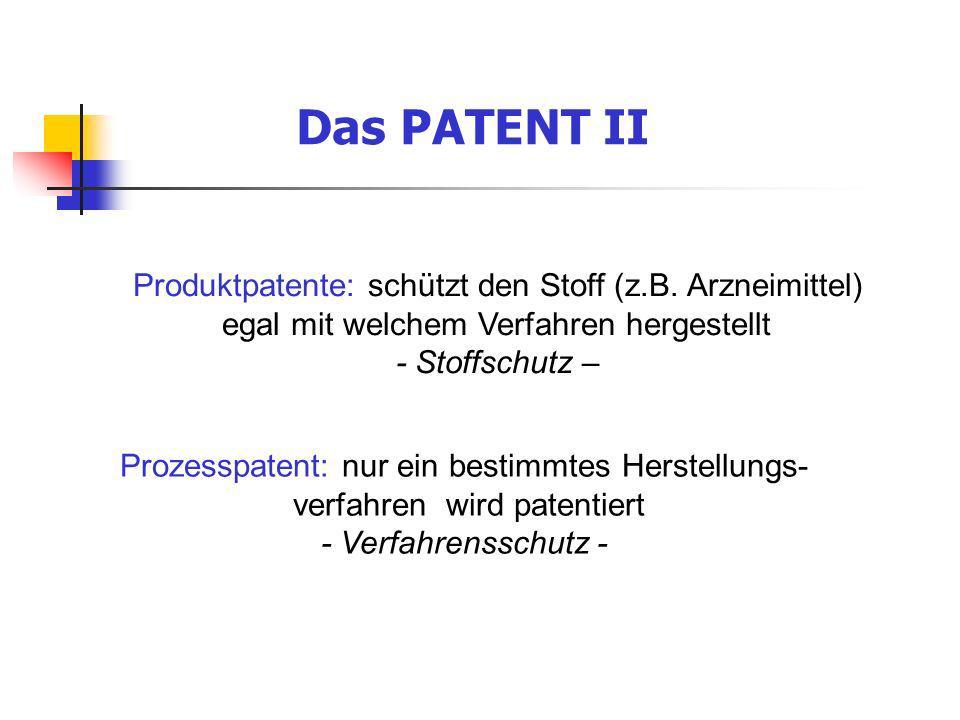 Das PATENT II Produktpatente: schützt den Stoff (z.B. Arzneimittel) egal mit welchem Verfahren hergestellt.