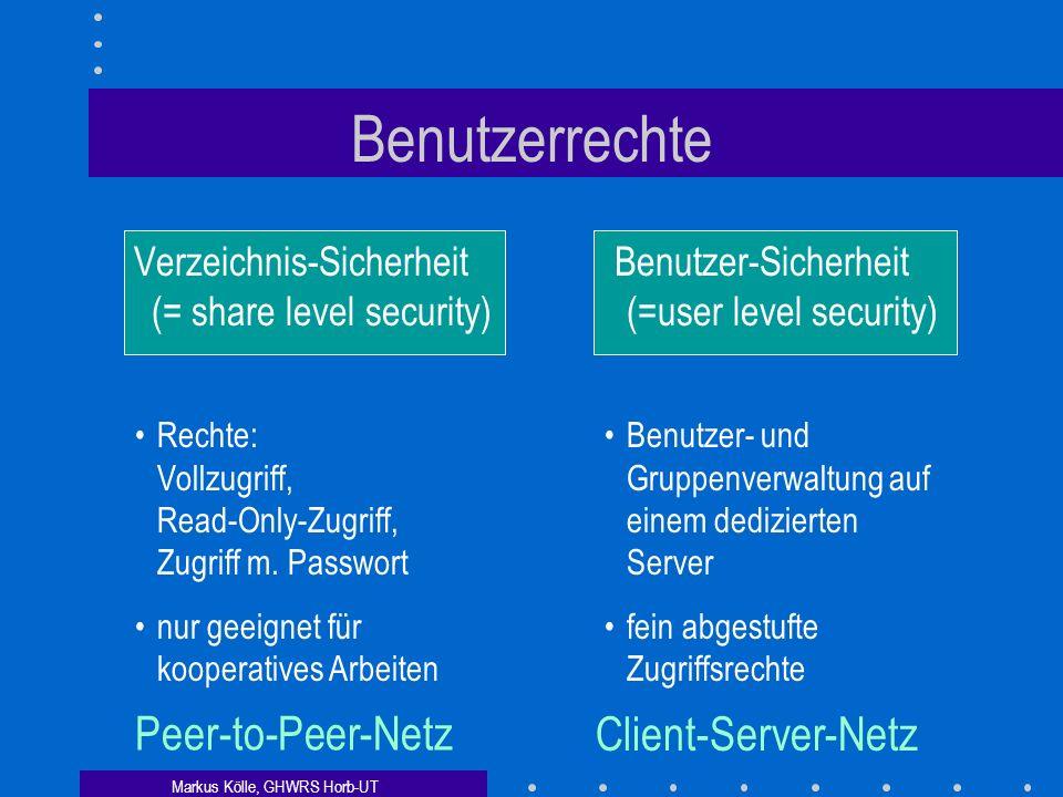 Benutzerrechte Peer-to-Peer-Netz Client-Server-Netz