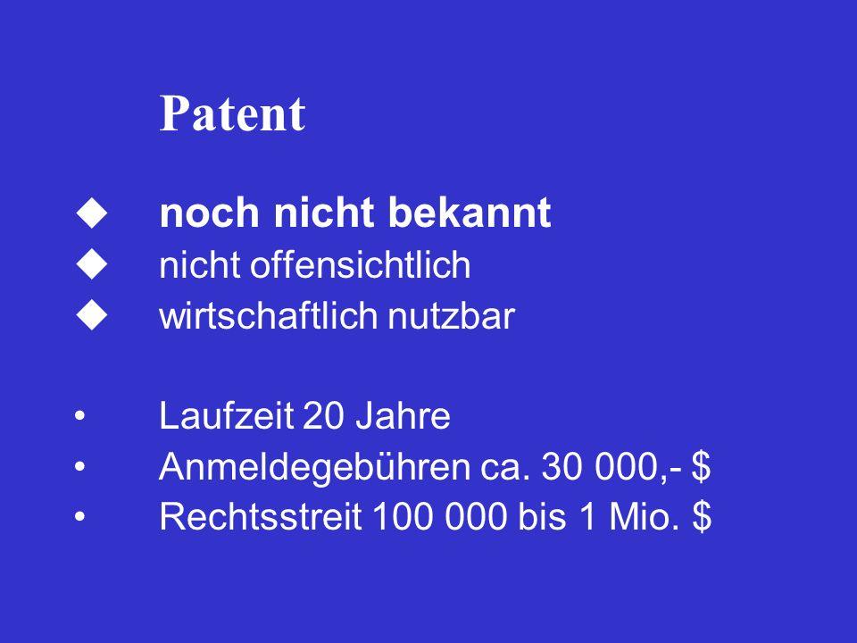 Patent  noch nicht bekannt  nicht offensichtlich