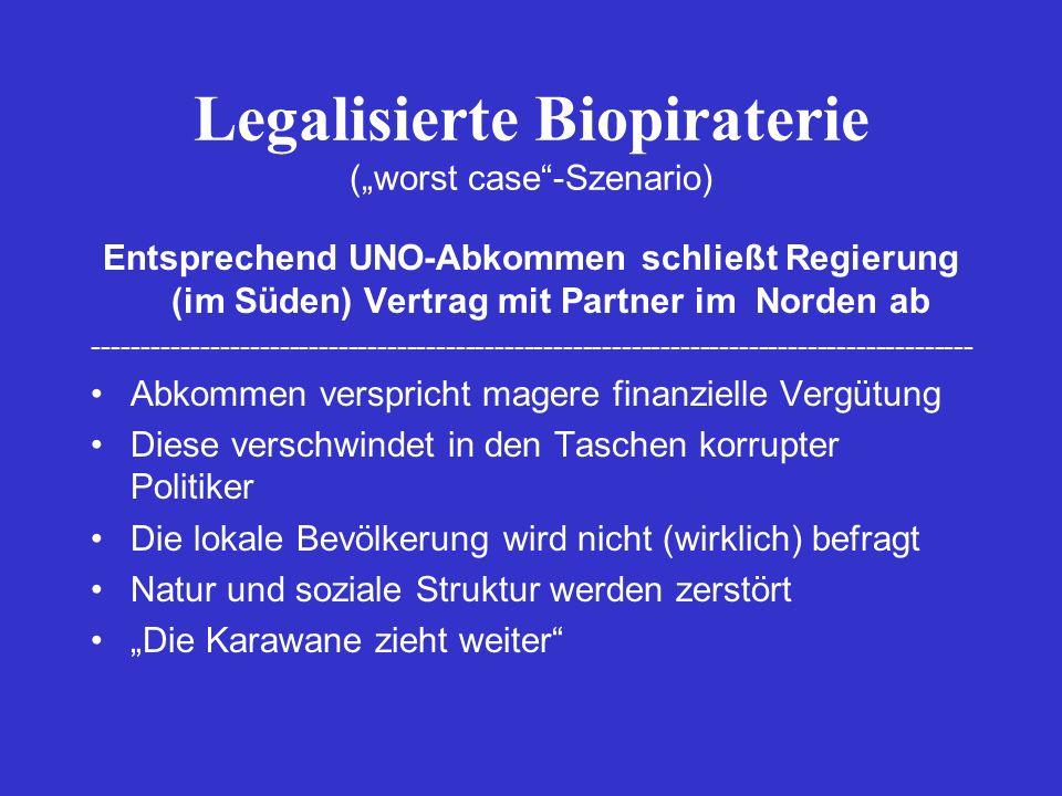 "Legalisierte Biopiraterie (""worst case -Szenario)"
