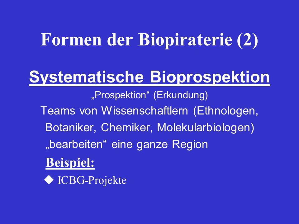 Formen der Biopiraterie (2)