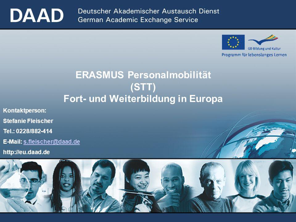 ERASMUS Personalmobilität (STT) Fort- und Weiterbildung in Europa