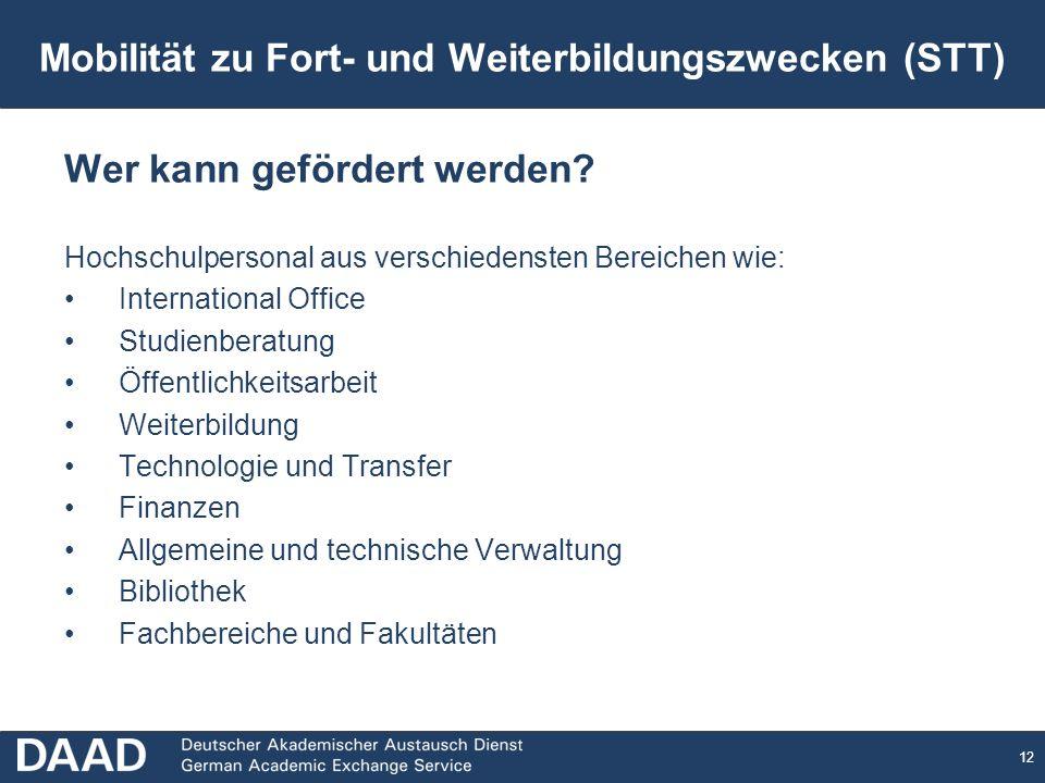 Mobilität zu Fort- und Weiterbildungszwecken (STT)