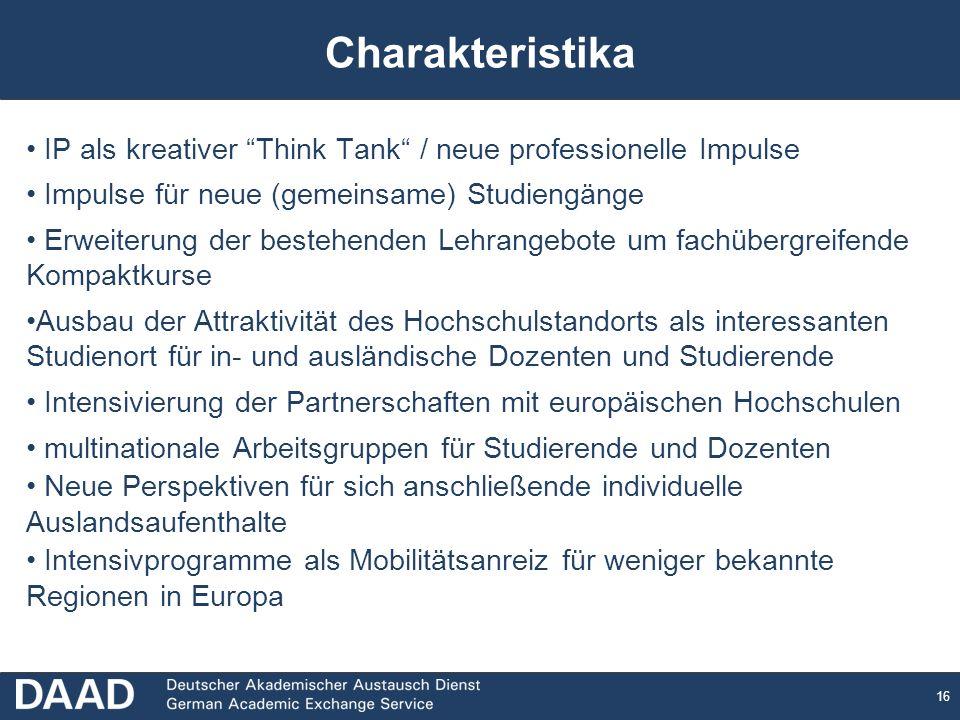 Charakteristika IP als kreativer Think Tank / neue professionelle Impulse. Impulse für neue (gemeinsame) Studiengänge.