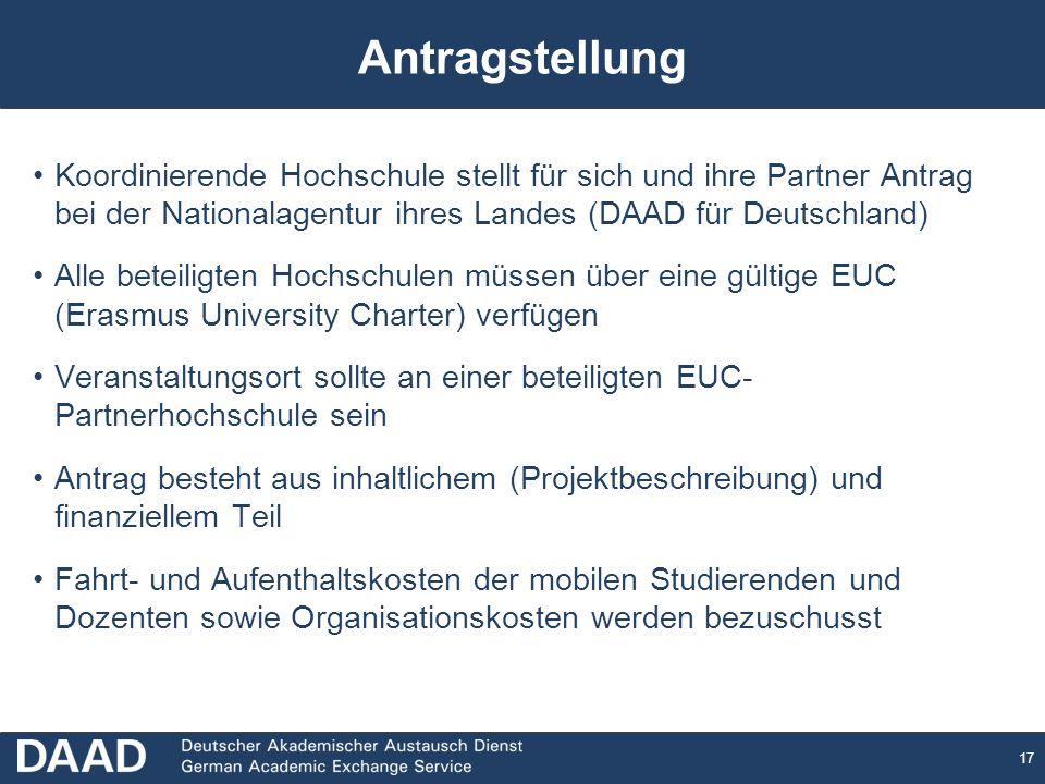 Antragstellung Koordinierende Hochschule stellt für sich und ihre Partner Antrag bei der Nationalagentur ihres Landes (DAAD für Deutschland)