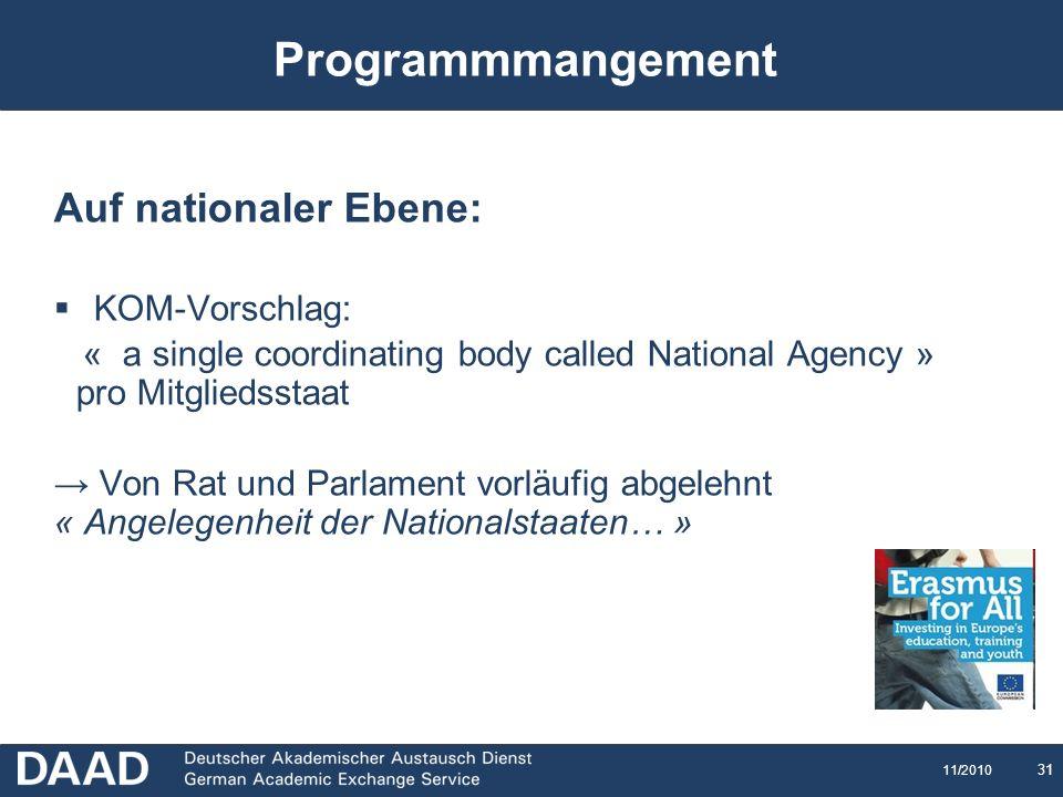 Programmmangement Auf nationaler Ebene: KOM-Vorschlag: