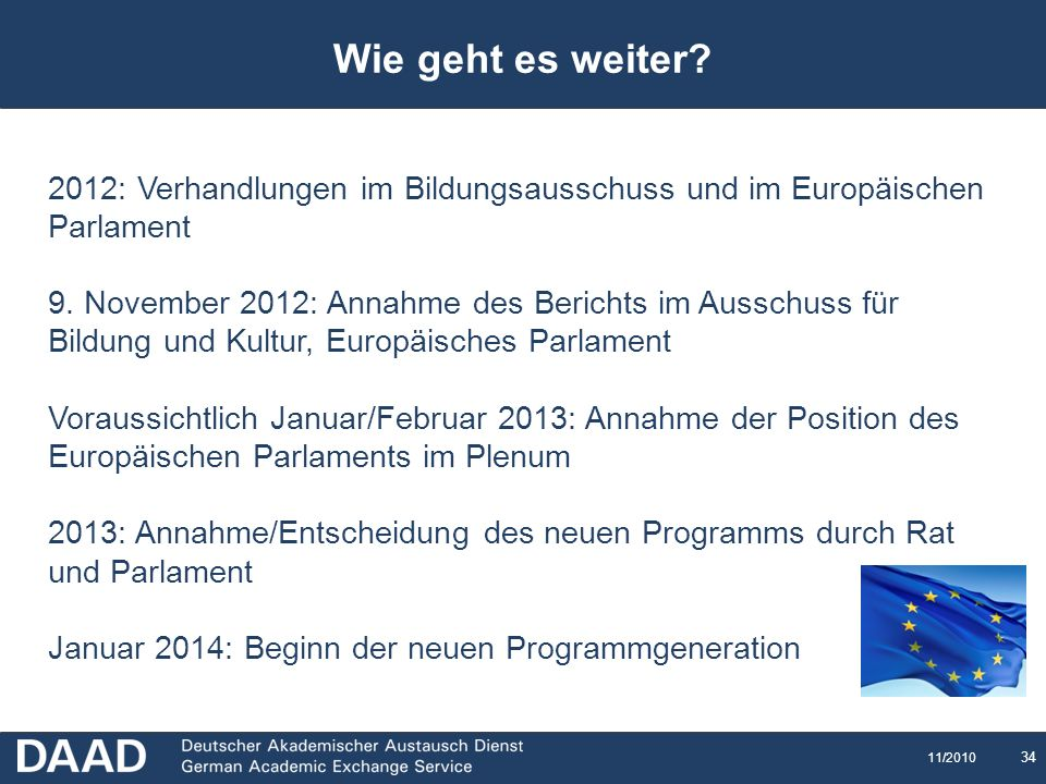 Wie geht es weiter 2012: Verhandlungen im Bildungsausschuss und im Europäischen Parlament.