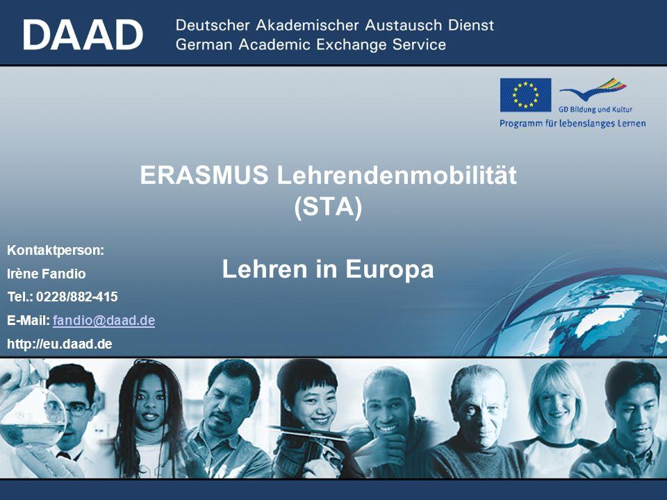 ERASMUS Lehrendenmobilität (STA) Lehren in Europa