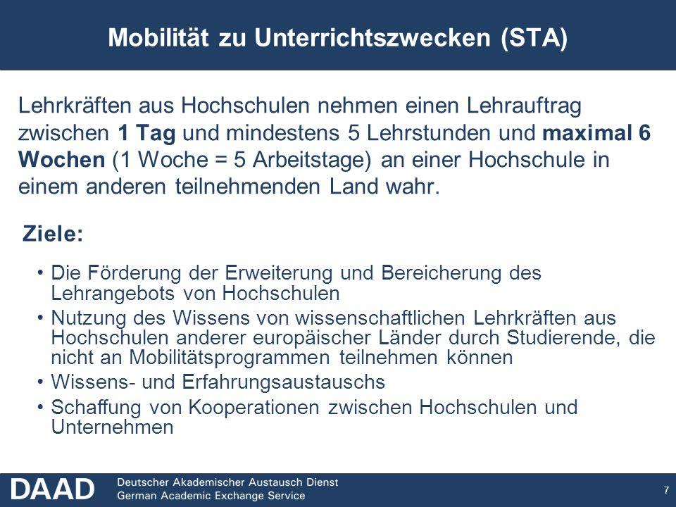 Mobilität zu Unterrichtszwecken (STA)