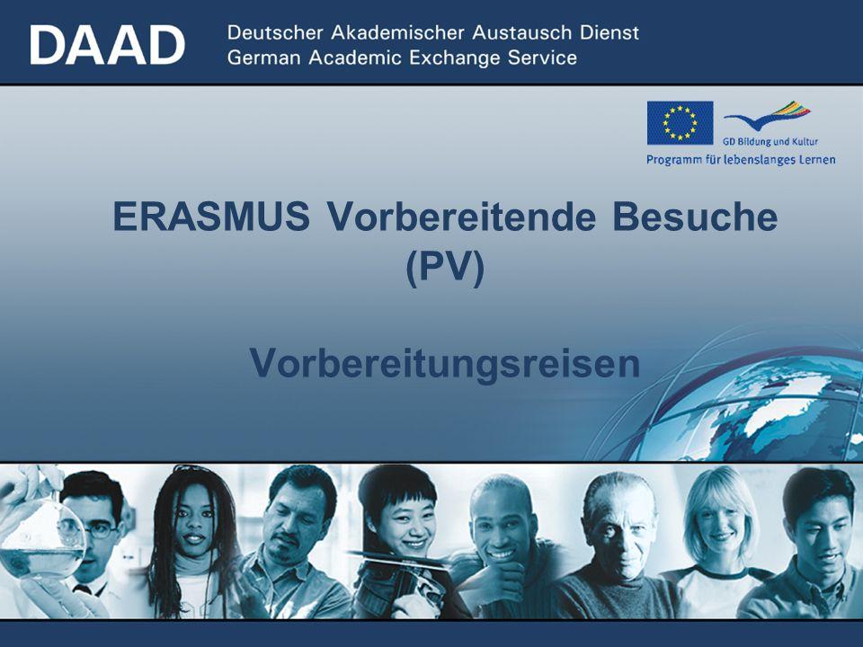 ERASMUS Vorbereitende Besuche (PV) Vorbereitungsreisen