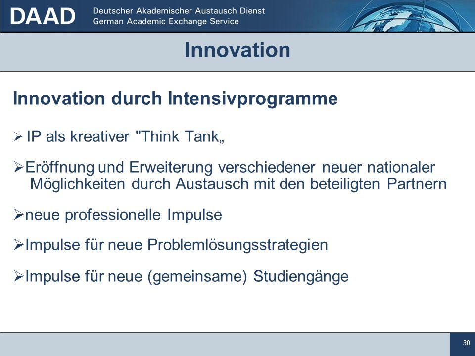 Innovation Innovation durch Intensivprogramme