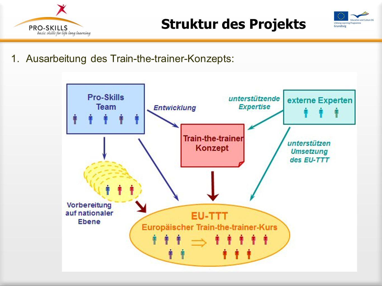 Struktur des Projekts Ausarbeitung des Train-the-trainer-Konzepts: