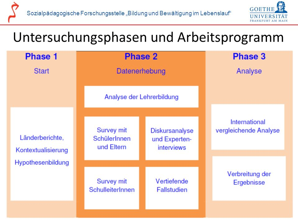 Untersuchungsphasen und Arbeitsprogramm