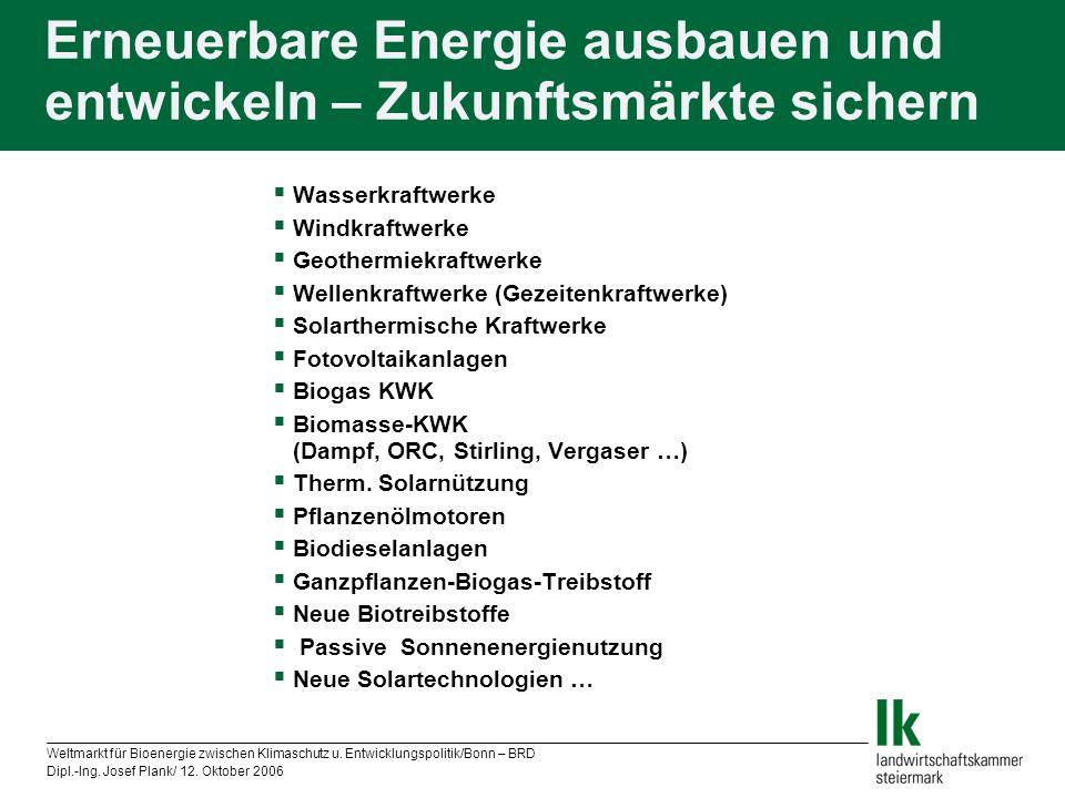 Erneuerbare Energie ausbauen und entwickeln – Zukunftsmärkte sichern