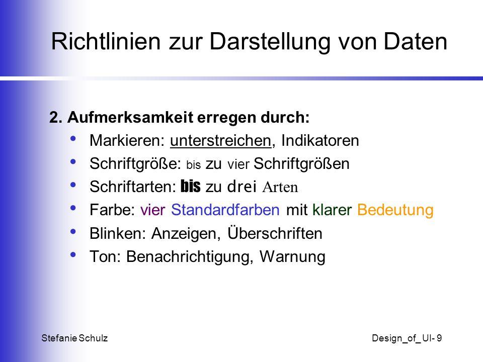 Richtlinien zur Darstellung von Daten