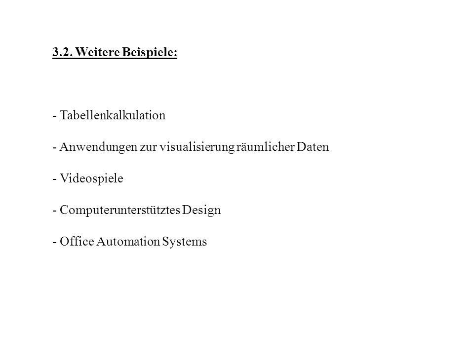 3.2. Weitere Beispiele: - Tabellenkalkulation. - Anwendungen zur visualisierung räumlicher Daten. - Videospiele.