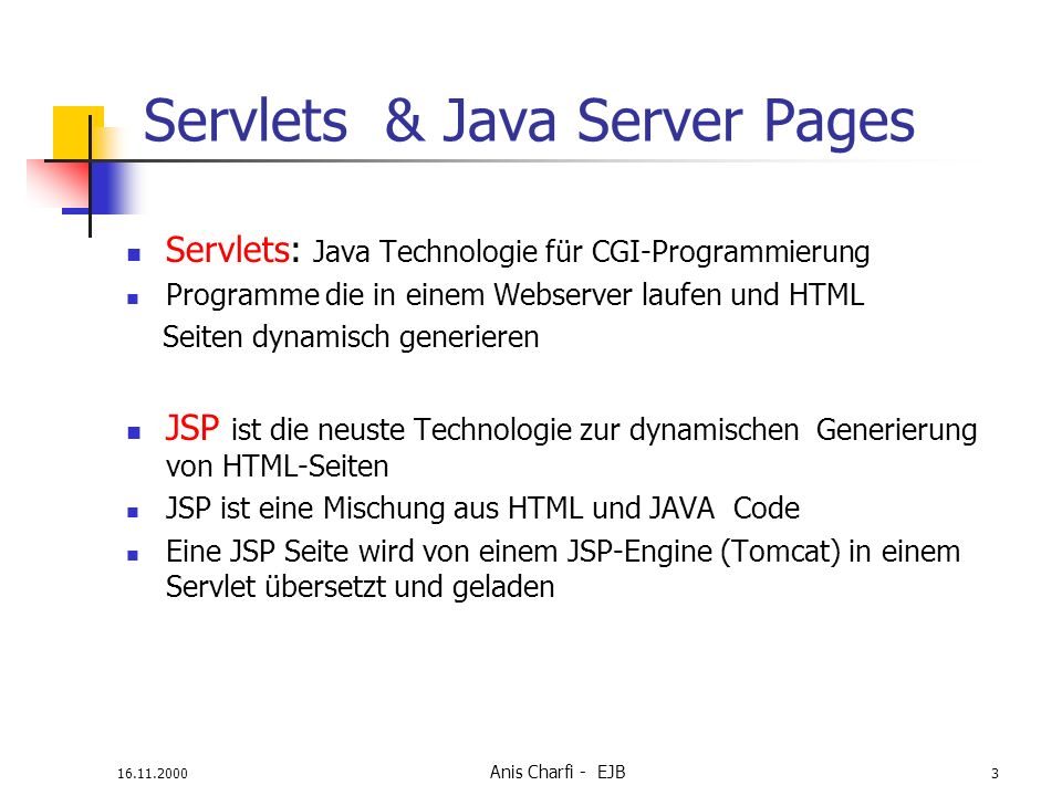 Servlets & Java Server Pages