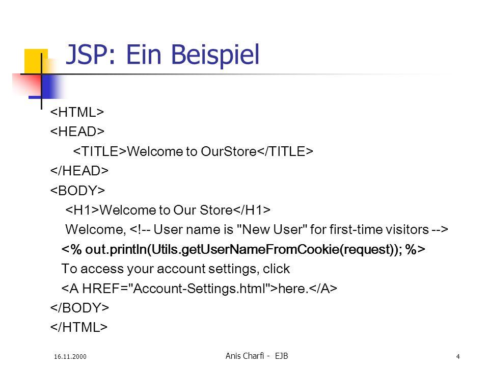 JSP: Ein Beispiel <HTML> <HEAD>