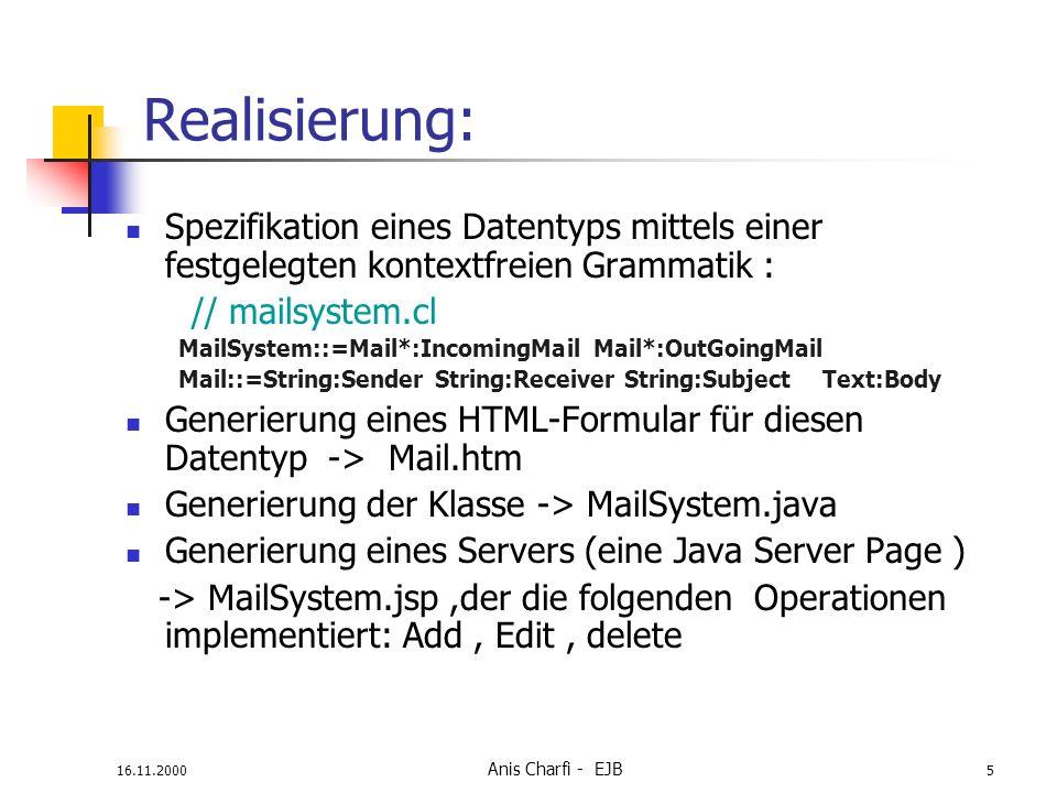 Realisierung: Spezifikation eines Datentyps mittels einer festgelegten kontextfreien Grammatik : // mailsystem.cl.