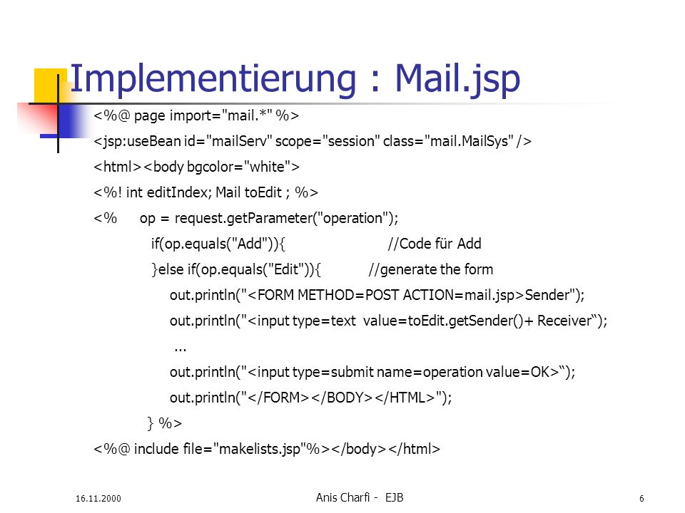 Implementierung : Mail.jsp