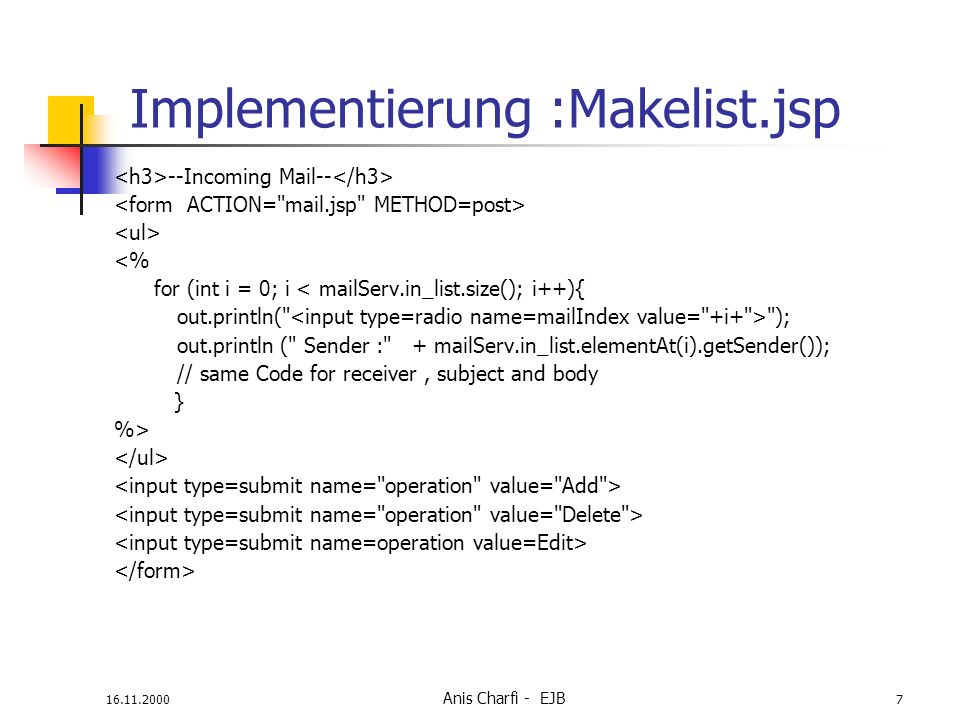 Implementierung :Makelist.jsp
