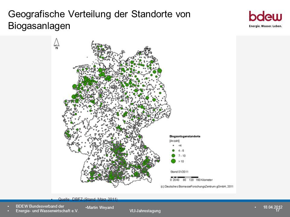 Geografische Verteilung der Standorte von Biogasanlagen