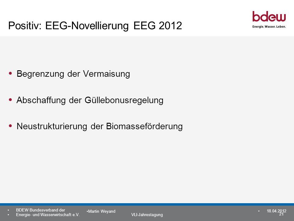 Positiv: EEG-Novellierung EEG 2012