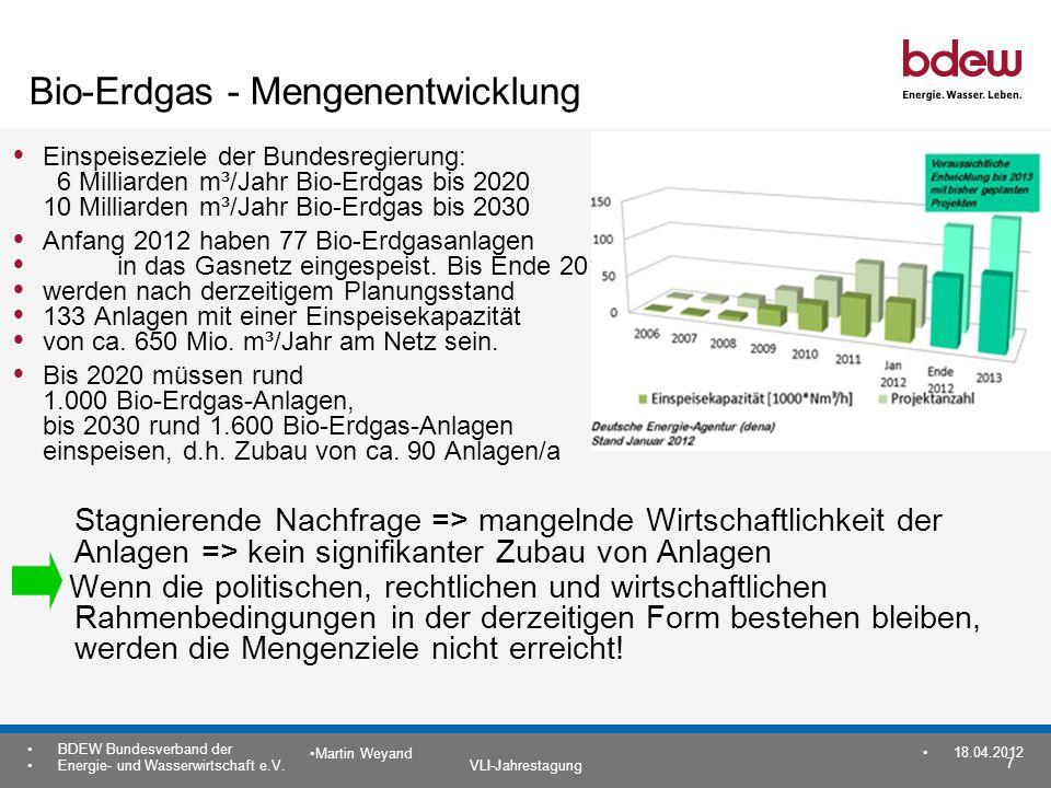 Bio-Erdgas - Mengenentwicklung