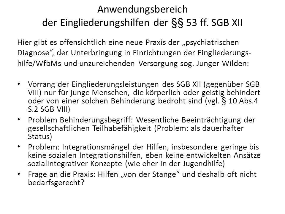 Anwendungsbereich der Eingliederungshilfen der §§ 53 ff. SGB XII