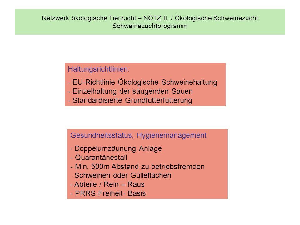 Haltungsrichtlinien: - EU-Richtlinie Ökologische Schweinehaltung