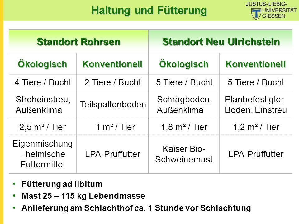 Haltung und Fütterung Standort Rohrsen Standort Neu Ulrichstein