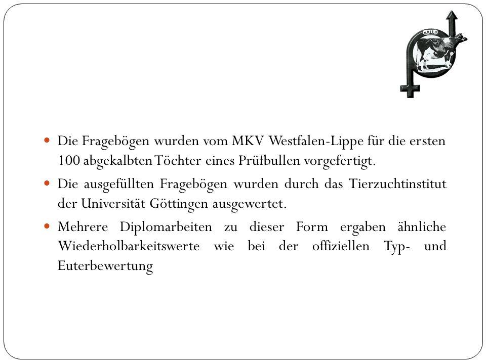 Die Fragebögen wurden vom MKV Westfalen-Lippe für die ersten 100 abgekalbten Töchter eines Prüfbullen vorgefertigt.
