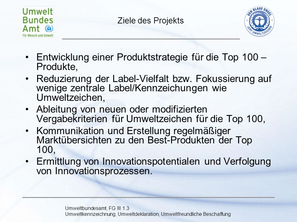 Entwicklung einer Produktstrategie für die Top 100 – Produkte,