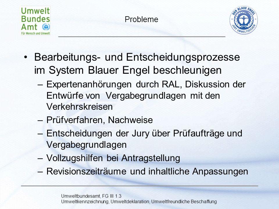 Probleme Bearbeitungs- und Entscheidungsprozesse im System Blauer Engel beschleunigen.