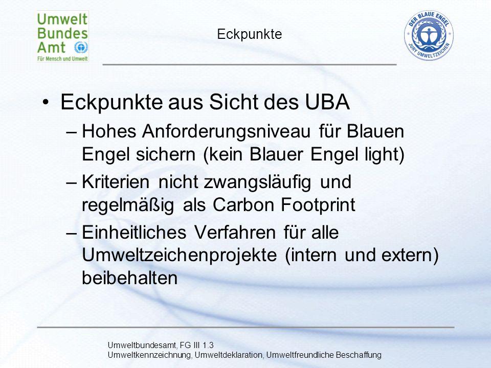 Eckpunkte aus Sicht des UBA