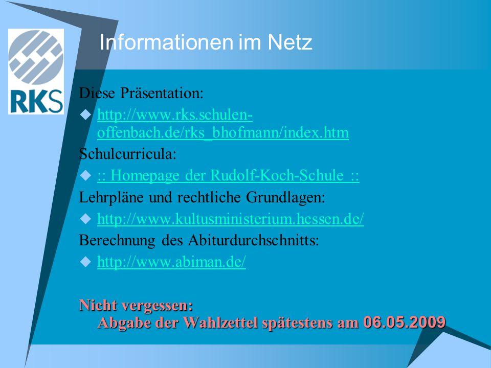 Informationen im Netz Diese Präsentation: