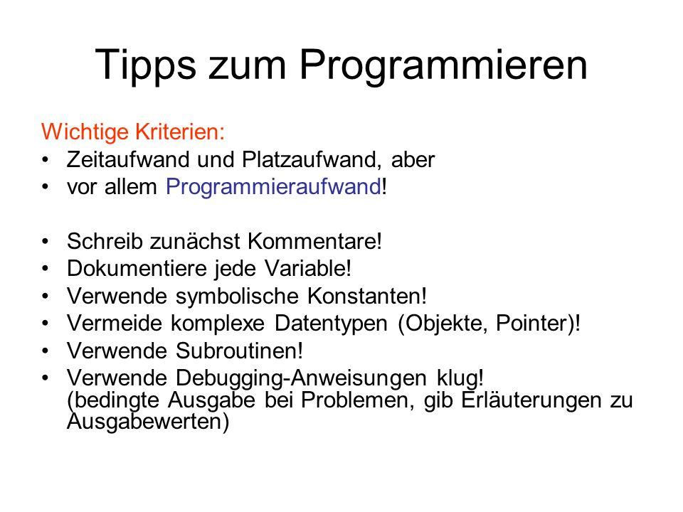 Tipps zum Programmieren