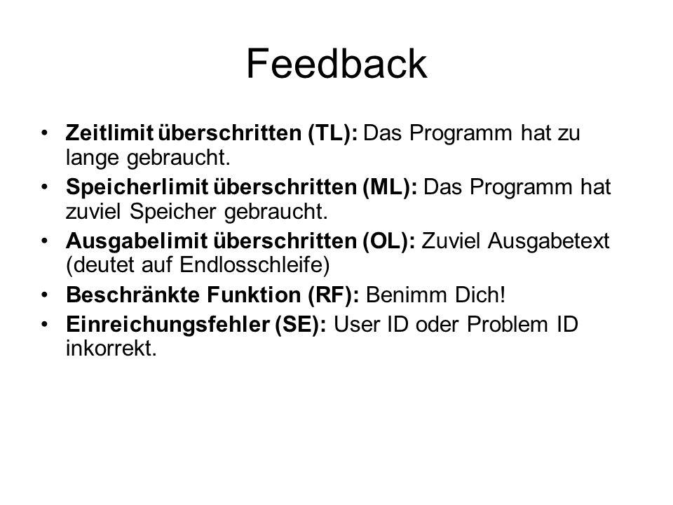Feedback Zeitlimit überschritten (TL): Das Programm hat zu lange gebraucht.