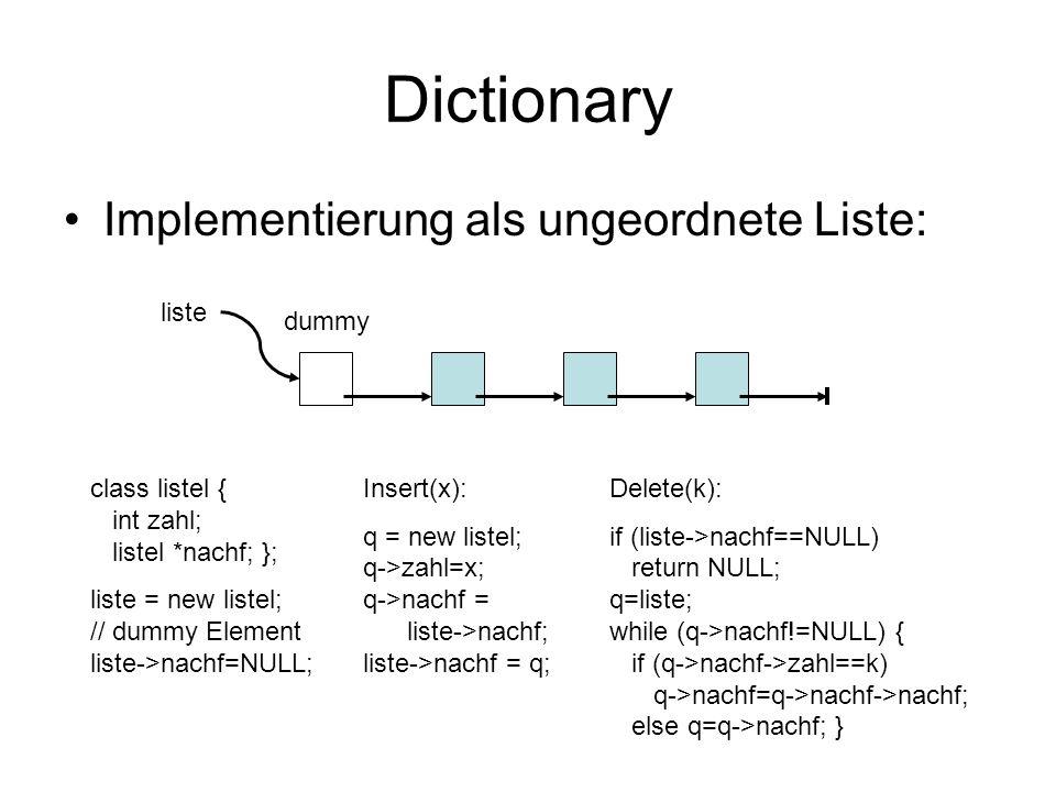 Dictionary Implementierung als ungeordnete Liste: liste dummy