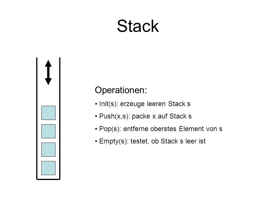 Stack Operationen: Init(s): erzeuge leeren Stack s