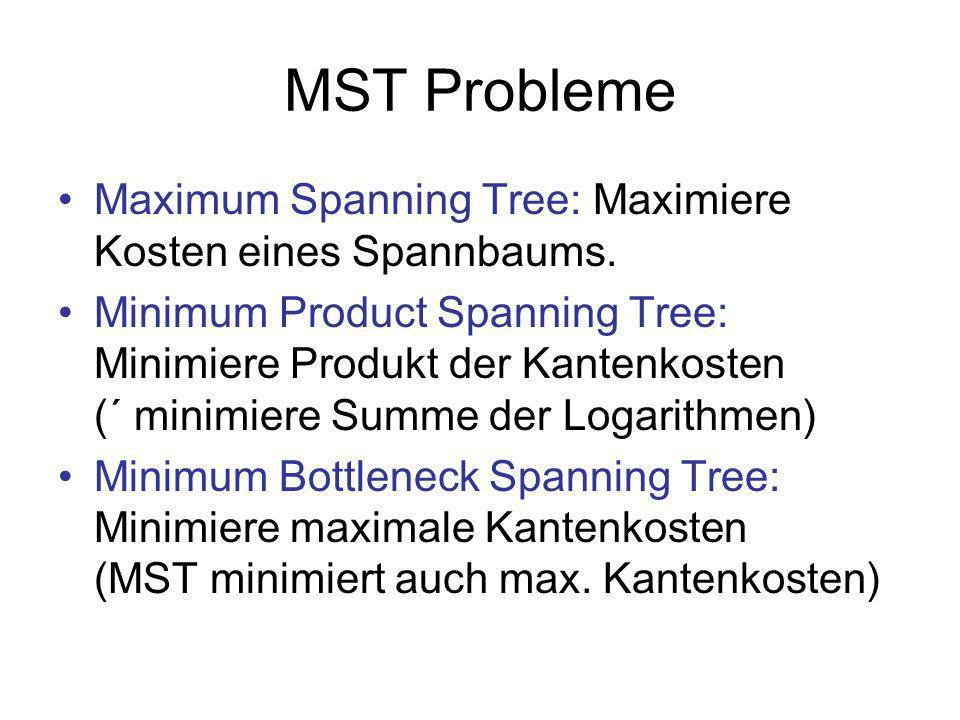 MST Probleme Maximum Spanning Tree: Maximiere Kosten eines Spannbaums.