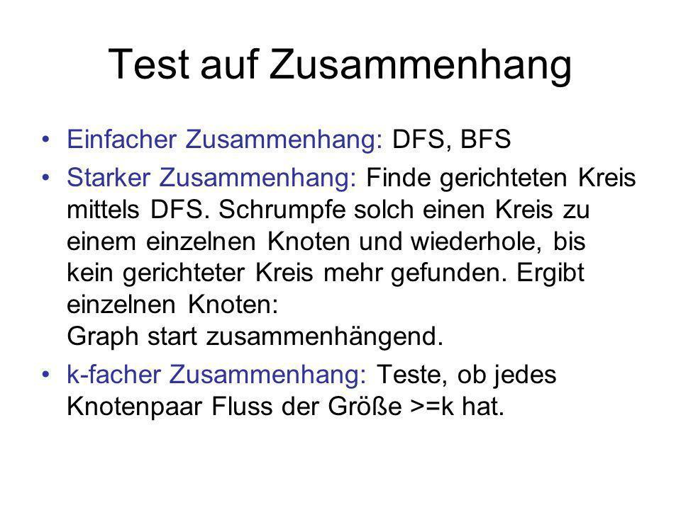 Test auf Zusammenhang Einfacher Zusammenhang: DFS, BFS