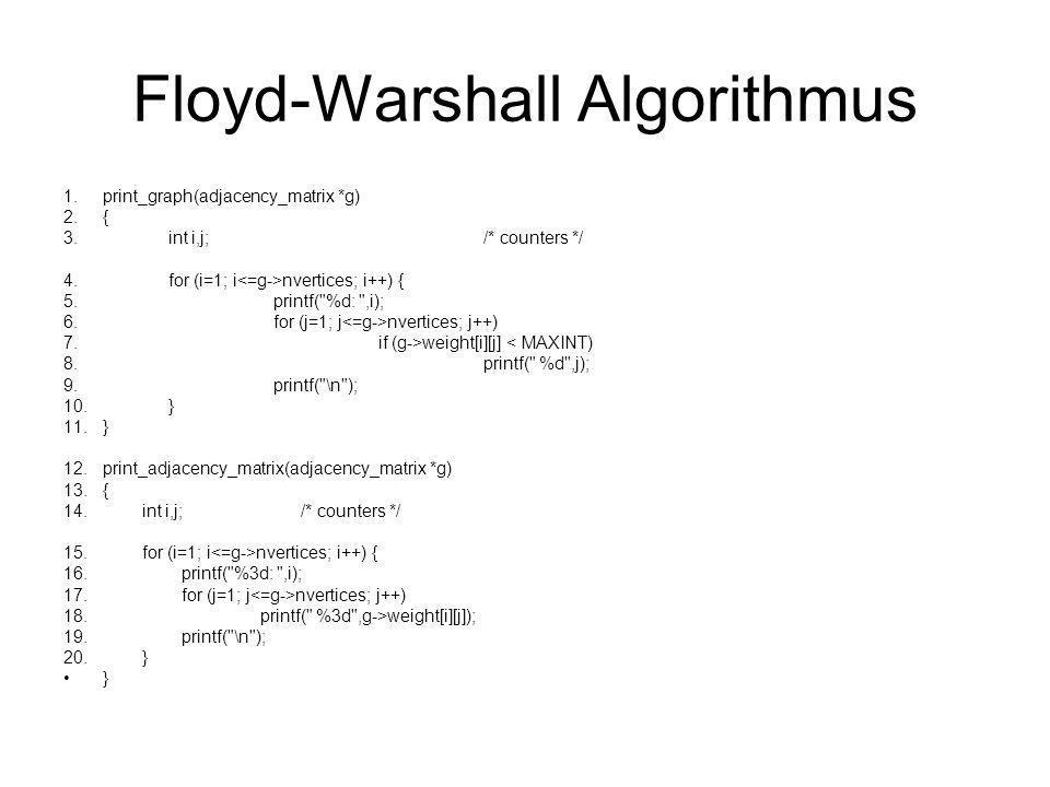 Floyd-Warshall Algorithmus