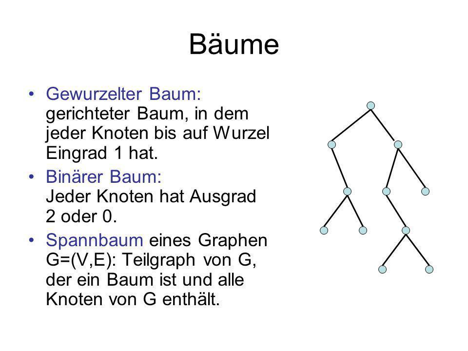 Bäume Gewurzelter Baum: gerichteter Baum, in dem jeder Knoten bis auf Wurzel Eingrad 1 hat. Binärer Baum: Jeder Knoten hat Ausgrad 2 oder 0.