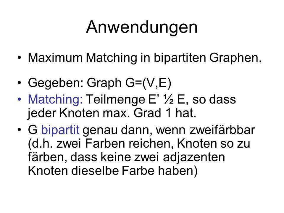 Anwendungen Maximum Matching in bipartiten Graphen.