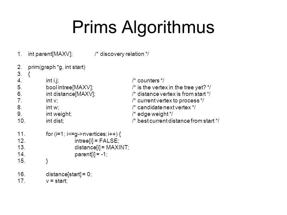 Prims Algorithmus int parent[MAXV]; /* discovery relation */