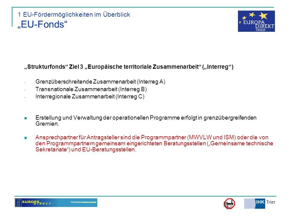 """1 EU-Fördermöglichkeiten im Überblick """"EU-Fonds"""