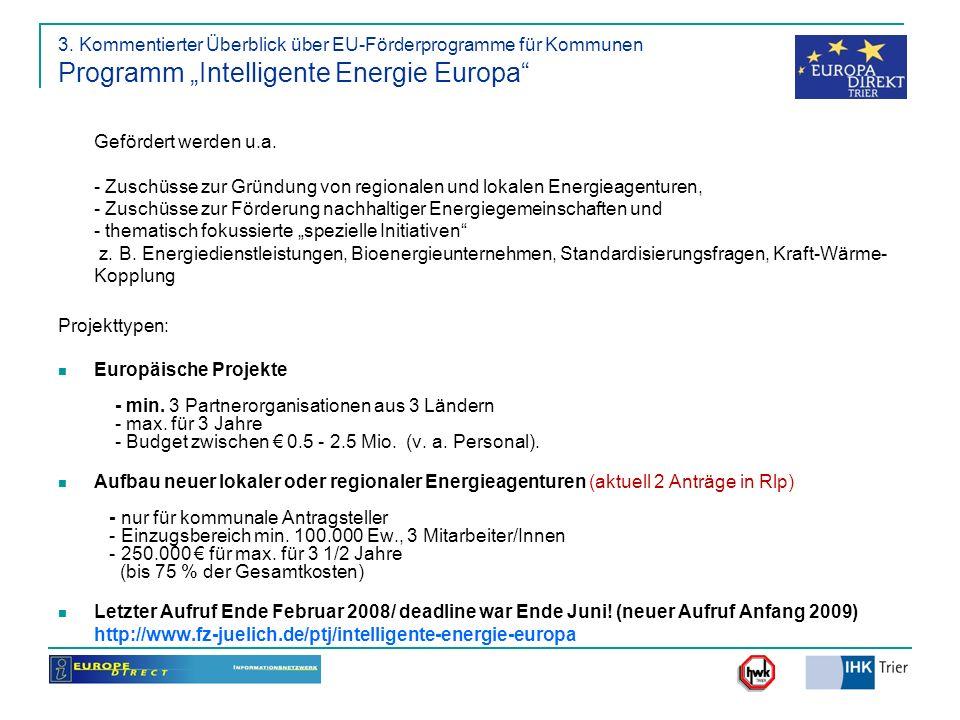 """3. Kommentierter Überblick über EU-Förderprogramme für Kommunen Programm """"Intelligente Energie Europa"""