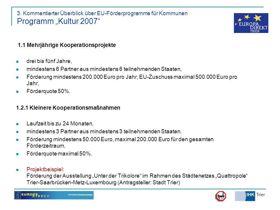 1.1 Mehrjährige Kooperationsprojekte