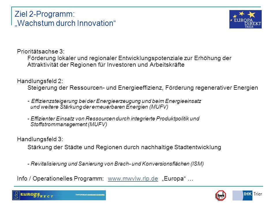 """Ziel 2-Programm: """"Wachstum durch Innovation"""